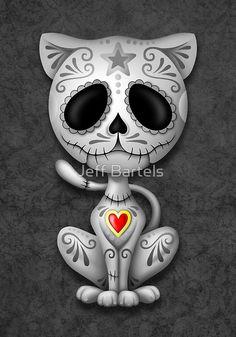'Purple Zombie Sugar Kitten Cat' Art Print by jeff bartels Sugar Skull Cat, Sugar Skulls, Desenhos Love, Image Chat, Day Of The Dead Skull, Cat Art Print, Wow Art, Skull Art, Belle Photo