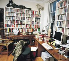 Jung Change wrote Mao: The Unknown Story here Writers Desk, Writers Write, Room Of One's Own, Home Office Setup, Workspace Inspiration, Decoration, Bookshelves, Writing, Interior Design