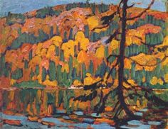 Reproduction with Oil painting effect of painting made by MacDonald J E H - Autumn Algoma 1918 Group Of Seven Artists, Group Of Seven Paintings, Paintings I Love, Oil Paintings, Acrylic Paintings, Emily Carr, Maurice Denis, Canadian Painters, Canadian Artists