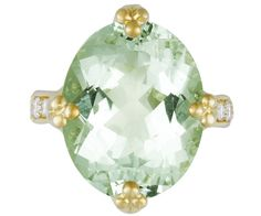 18K Crown Ring with green beryl (12.21cts) and diamond (0.475cts). 19,500.00 USD
