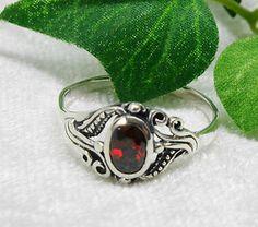 Silberring mit rotem Zirkonia - Jugenstil-Design   Gr. 60