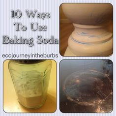 10 ways to use baking soda: deodorizer, cleaner, hair wash, the list goes on. Eco Journey in the Burbs: Baking Soda Love  #bakingsoda #eco #green #ecotips #greentips #cleaning #greencleaning #deoderizer