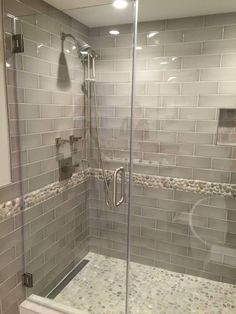 Check out the drain! Pebble shower floor, but with white tile, simple design Bathroom Tile Designs, Bathroom Renos, Bathroom Interior Design, Bathroom Renovations, Small Bathroom, Bathroom Showers, Pebble Shower Floor, Master Shower, Master Bathroom