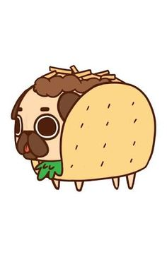 Puglie Taco Art Print by Puglie Pug. Worldwide shipping available at Just one of millions of high quality products available. Cartoon Wallpaper, Pug Wallpaper, Kawaii Wallpaper, Iphone Wallpaper, Cute Kawaii Drawings, Cute Animal Drawings, Taco Drawing, Pug Cartoon, Pug Art