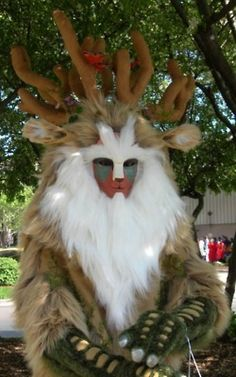 AWESOME Princess Mononke Forest God cosplay - could do a paired down version with face paint and a headband