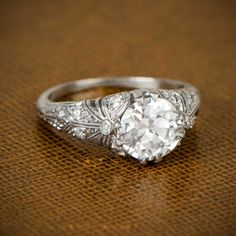 Beautiful Antique Edwardian Engagement Ring. Circa 1910. By Estate Diamond Jewelry.