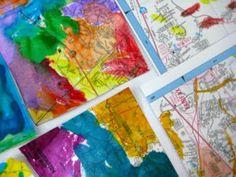 Map Art- @Sarah Fought should do these!