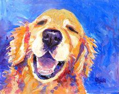 Pet Art by Ron Krajewski :: Golden Retriever Dog Art Print of Original Acrylic Painting - Dog Paintings, Original Paintings, Golden Retriever Gifts, Golden Retrievers, Dog Portraits, Dog Art, Watercolor Paintings, Watercolor Paper, Watercolors