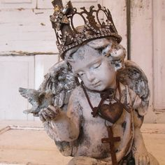 Ornate cherub angel statue distressed with handmade French Santos inspired crown painted aged patina home decor Anita Spero Design by anitasperodesign. Explore more products on http://anitasperodesign.etsy.com