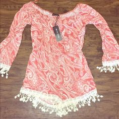 Juniors frilled off the shoulder romper NWT Adorable off the shoulder peach romper! Brand new with tags Other