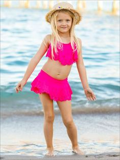 Girls Floral Ruffled Skirted Bottom Two Piece Swimsuit (3 Color Options) | Mia Belle Baby Unique Swimsuits, Two Piece Swimsuits, One Piece Swimsuit, Baby Girl Dresses, Fashion Prints, Bathing Suits, Latest Trends, Stylish, Swimwear