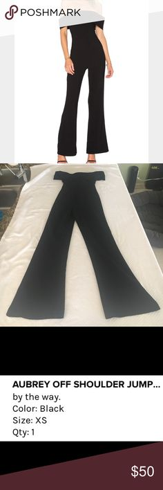 By the way Black Jumpsuit Super fun black jumpsuit worn once zips up the back off the shoulder super sexy great material easy to care for ready to go by the way Pants Jumpsuits & Rompers