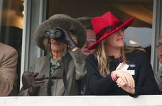 Camilla watches the opening race at day two of the Cheltenham Festival.