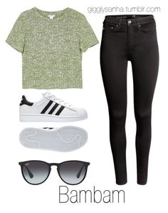 """Pizza Date // Bambam"" by suga-infires ❤ liked on Polyvore featuring H&M, adidas, Ray-Ban and Monki"