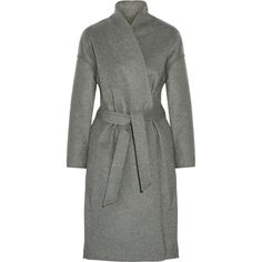 Toteme Chelsea Belted Wool-Blend Felt Coat as seen on Rosie Huntington-Whiteley