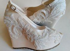 Wedding Wedding Wedge Shoes Bridal Wedge by KILIGDESIGN on Etsy