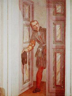Paolo Veronese-Francesco Barbaro che apre la porta,1560-61,Villa Barbaro, Maser (villa veneta, costruita da Andrea Palladio tra il 1554 e il 1560 per l'umanista Daniele Barbaro e per suo fratello Marcantonio Barbaro, ambasciatore della Repubblica di Venezia)