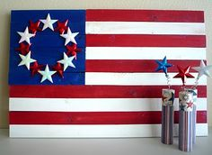 A wood flag idea made with pine paint and a few stars. Pallet Flag, Wood Flag, Wood Projects, Woodworking Projects, Painting On Pallet Wood, Wood Pallets, Fourth Of July, Memorial Day, Wood Crafts