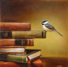 on the edge of knowledge, stack of books with a chickadee, painting by lori mcnee