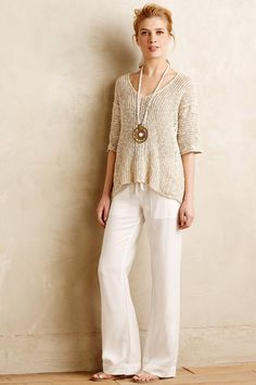 Anthropologie Agiato Wide Legs white wide-legged pants, tan pullover, long pendant necklace
