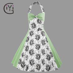e8925b41cbba GIYI Plus Size Vintage Retro Halter Floral Print Dress Summer 2017 Green  Sexy Sleeveless Swing Midi Dress Women Robe Femme