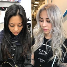 The 5 Things Clients Should Know Before Going Silver Or Platinum hair makeover Black To Blonde Hair, Grey Hair Dye, Blonde Asian, Asian Hair, Asians With Blonde Hair, Black And Grey Hair, Hair Color Asian, Silver Platinum Hair, Silver Grey Hair