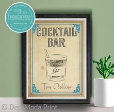 Tom Collins Ingredients Print Tom Collins Cocktails, Vintage Style, Vintage Fashion, Mojito Cocktail, Cocktail Ingredients, Mai Tai, Sign Printing, Bar Signs, Artwork Prints