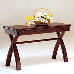 Kingston Elegant Cherry Solid Wood Veneer Expandable Top Console Table