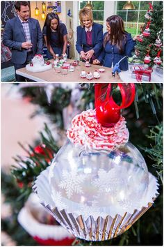 #TuesdayTip How cute is this cupcake #Christmas ornament? Tanya Memme shows you how easy it is to make on Home & Family TODAY 10a/9C on Hallmark Channel USA! UPDATE: Click here to learn how: https://cms.hallmarkchannel.com/home-and-family/how-to/tanya-memmes-diy-cupcake-ornaments