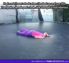 That is hilarious. I'd do the same thing. Or go underneath and pop my head up through it.