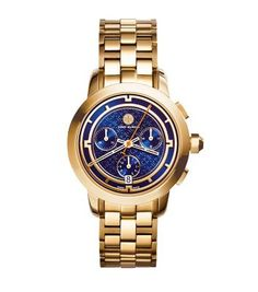 I have been waiting for MONTHS for the release of TB's new watch line!  This one is my fave!  Tory Burch Gold-Tone/Navy Chronograph, 37 mm