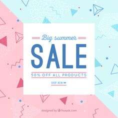 Geometric sale background with shapes Free Vector Sale Banner, Web Banner, Web Layout, Layout Design, 90s Design, Graphic Design, Banners, Free Web Design, Web Design Quotes
