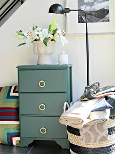 fabulous small dresser revamp.  I see dressers like this all of the time at thrift stores.  A pretty coat of paint and some modern hardware is all you need!