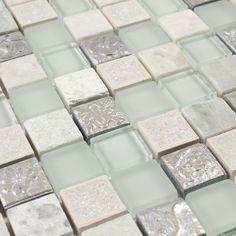 Crackle Glass Mosaic Tile Ice Blend for shower wall