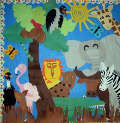 I created large African paper animals to go with our writing theme. @Mary Wallis