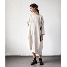Beige Dolman Sleeve Asymmetrical Dress by muku