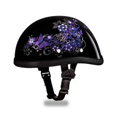 Half Helmets, Full Face Helmets, Bike Helmets, Novelty Motorcycle Helmets, Novelty Helmets, Purple Butterfly, Butterfly Design, Helmet Brands