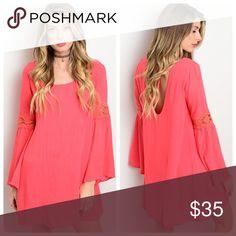 Stunning coral crochet detail dress! Tie back fully lined flowy boho crochet detail dress- fully lined - lightweight Dresses