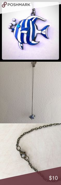 """Adorable Fish Necklace Blue and white fish with cute pearl """"bubbles"""" coming out of the mouth. Jewelry Necklaces"""