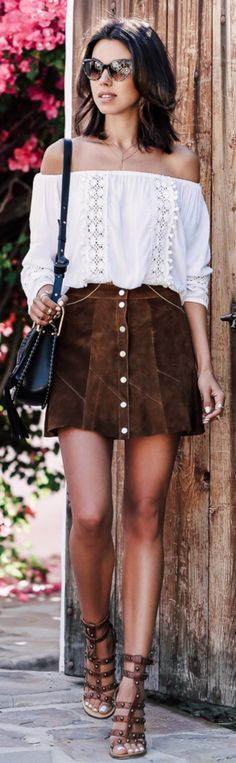 Gladiator sandals + must have + summer's bohemian style + Annabelle Fleur + pair   studded sandals +  cute button front skirt + off-the-shoulder blouse +  gutsy + feminine look.   Skirt: A.L.C Bogart, Blouse: Cool Change, Sandals: Marant.