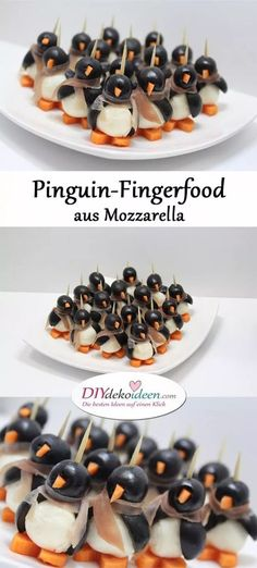 Your guests will be amazed by the penguin finger food from Mozzarella Pinguin-Fingerfood aus Mozzarella – Rezeptideen Fingerfood Party einfache Rezepte – Weihnachten Fingerfood – Silvester Party – Silvesterparty – Weihnachtsparty – Silvester Fingerfood – Snacks Für Party, Appetizers For Party, Appetizer Recipes, Brunch Recipes, Party Drinks, Dip Recipes, Dinner Recipes, Christmas Finger Foods, Christmas Appetizers
