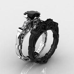 Caravaggio 14K Black and White Gold 1.25 Ct Princess Black and White Diamond Engagement Ring Wedding Band Set R623PS2-14KWBGDBD