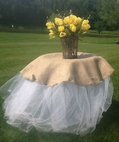 Burlap & Tulle Tablecloth by ChicShowersbyJoan on Etsy, $55.00