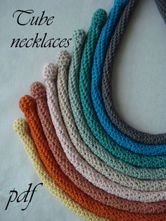 PDF Crochet Pattern Crocheted Tube Necklaces crocheted by sewella