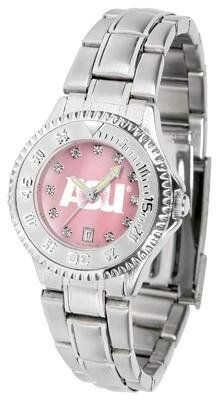 Arizona State Devils Ladies Watch Mother-of-Pearl Face by SunTime. $94.95. Stainless Steel Band. Links Make Watch Adjustable. Women. Officially Licensed Arizona State Devils Ladies Stainless Stell Watch. Mother-of-Pearl and Crystal Face. Arizona State Devils Ladies Watch Mother-of-Pearl Face This Devils watch has a functional rotating bezel that is color-coordinated to compliment your favorite team logo. The Competitor Steel utilizes an attractive and secure stainless steel ...