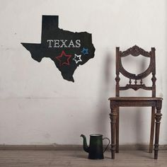 Texas Chalkboard State wall decal on wall
