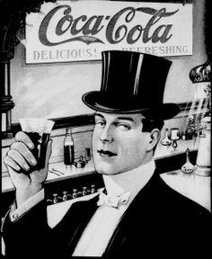 Vintage coca cola ad - man with top hat