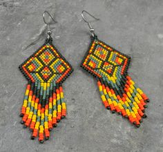 Colorful Native American Style Seed Bead Earrings by Anabel27shop, $35.00