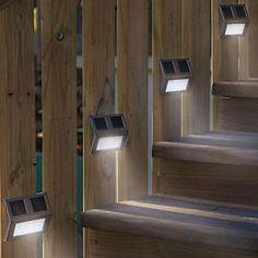 2LED Eclairage Lampe Exterieur Escalier Solaire Lumiere Clôture Jardin Cour Déco | eBay