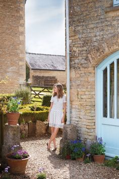 Amanda Cutter Brooks at home in the English countryside. I love the powder blue…